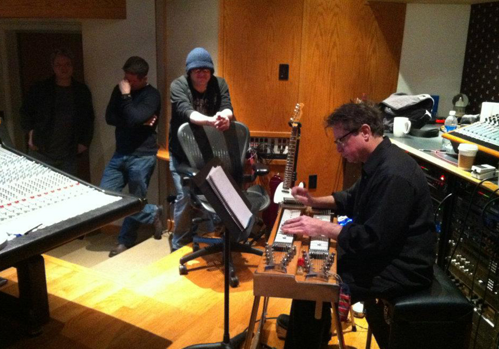 adams wilson recording with Robby Takac and Jim Whitford at GCR Audio in Buffalo, NY